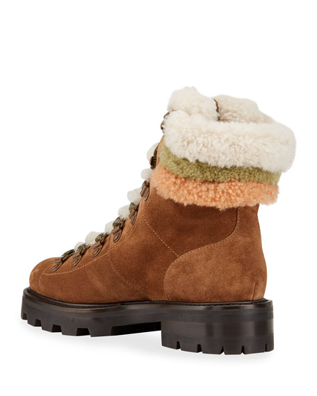 Image 4 of 4: Jimmy Choo Eshe Suede Shearling Hiker Booties