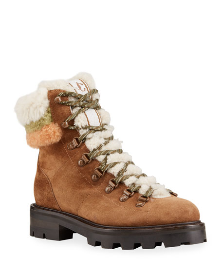Image 1 of 4: Jimmy Choo Eshe Suede Shearling Hiker Booties