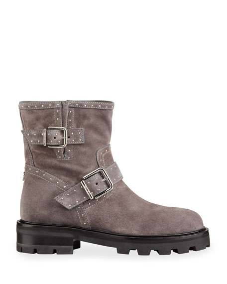Image 2 of 4: Jimmy Choo Youth Studded Suede Moto Booties