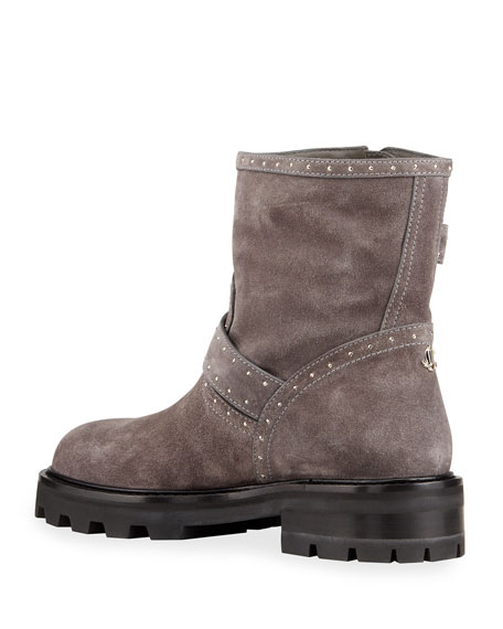 Image 4 of 4: Jimmy Choo Youth Studded Suede Moto Booties