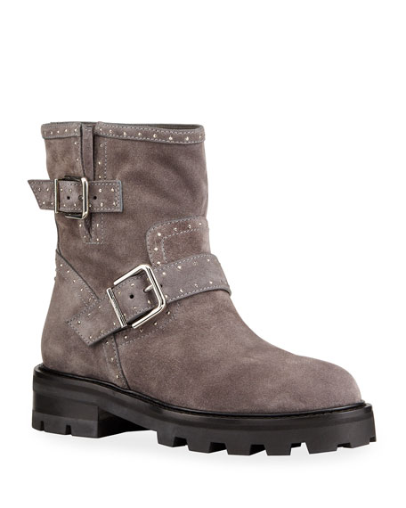 Image 1 of 4: Jimmy Choo Youth Studded Suede Moto Booties