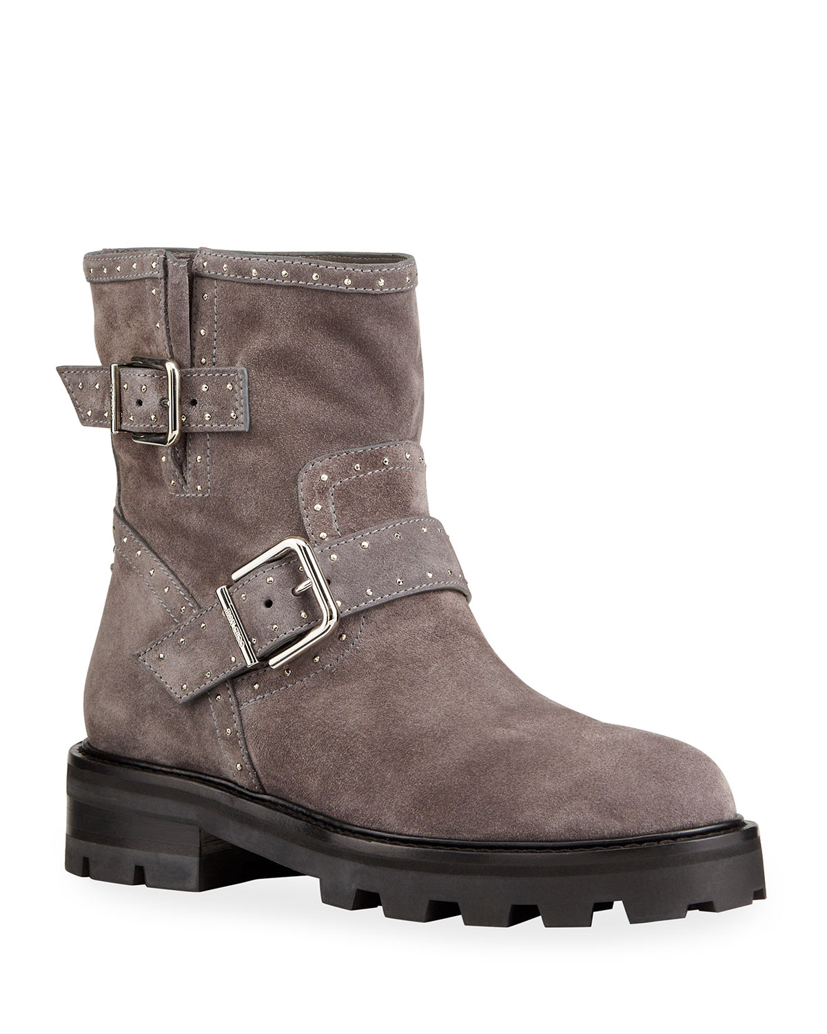 Jimmy Choo Youth Studded Suede Moto Booties