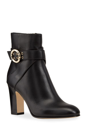 Jimmy Choo Blanka Leather Buckle Booties
