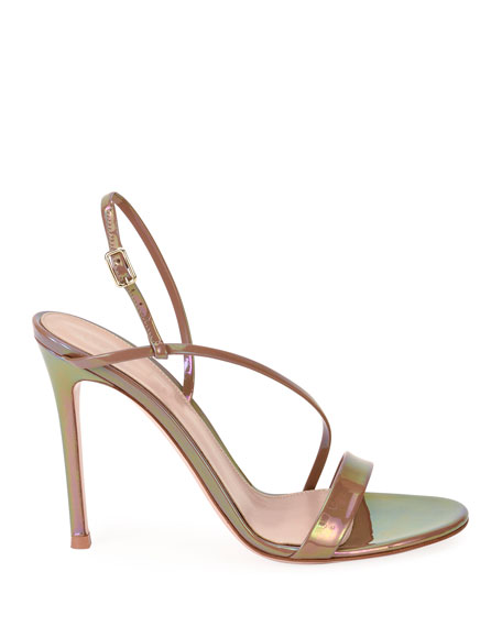 Image 2 of 4: Gianvito Rossi Assymmetric Oil Patent Sandals