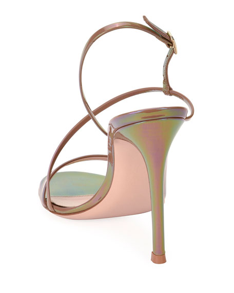 Image 3 of 4: Gianvito Rossi Assymmetric Oil Patent Sandals