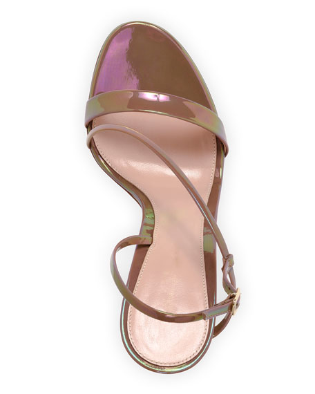 Image 4 of 4: Gianvito Rossi Assymmetric Oil Patent Sandals