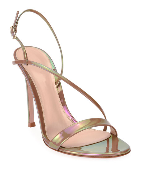 Image 1 of 4: Gianvito Rossi Assymmetric Oil Patent Sandals