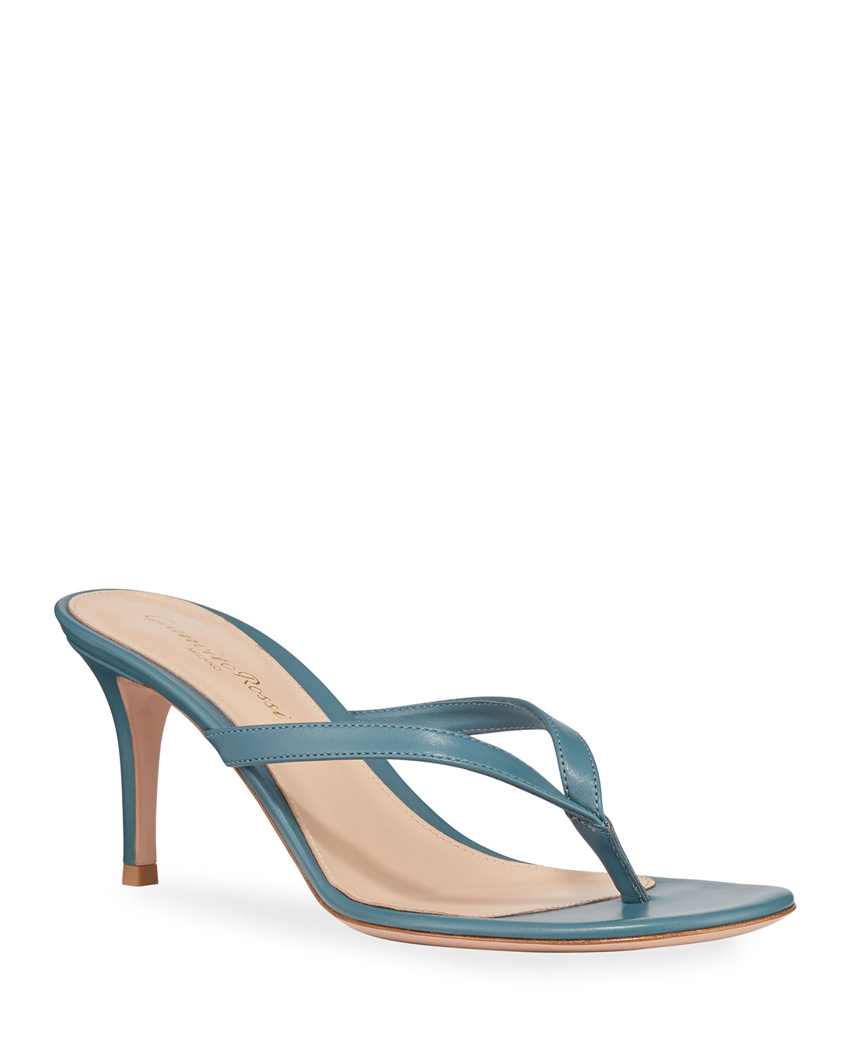 Gianvito Rossi Thong Leather Slide Sandals