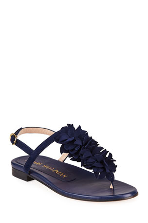 Stuart Weitzman Devorah Floral Thong Slingback Sandals
