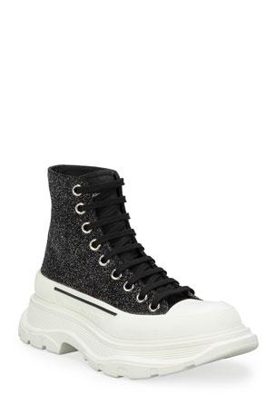Alexander McQueen Tread Slick Glitter Sneakers Booties