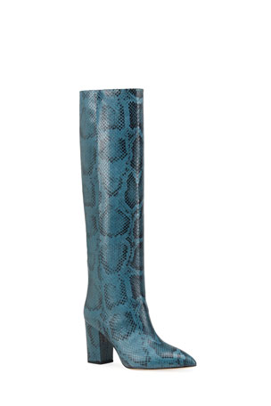 Paris Texas 80mm Python-Print Knee Boots