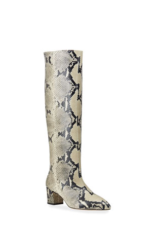 Paris Texas 50mm Python-Print Tall Boots