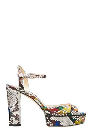Jimmy Choo Peachy Elaphe Snake Platform Sandals