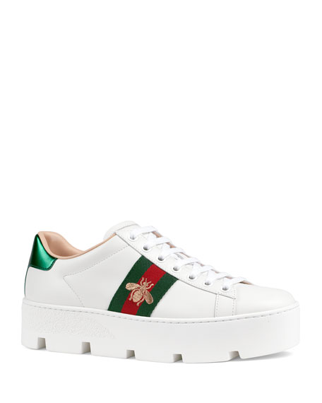 Image 1 of 4: Gucci New Ace Platform Bee Sneakers