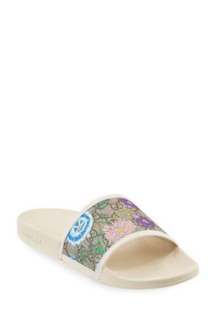 Gucci Pursuit Flat Flora Canvas Slide Sandals