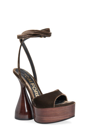 TOM FORD 160mm Velvet Ankle-Wrap Platform Sandals