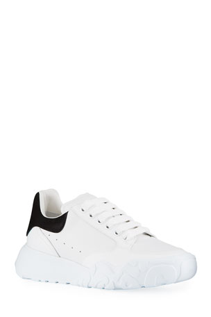 Alexander McQueen Court Mixed Leather Lace-Up Sneakers