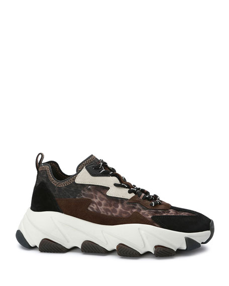 Image 2 of 4: Ash Eclipse Leopard-Print Suede Trainer Sneakers