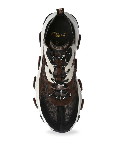 Image 3 of 4: Ash Eclipse Leopard-Print Suede Trainer Sneakers