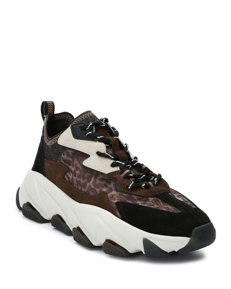 Image 1 of 4: Ash Eclipse Leopard-Print Suede Trainer Sneakers