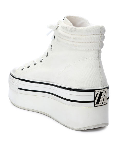 Image 4 of 4: Ash Jagger Canvas Platform Zip Sneakers