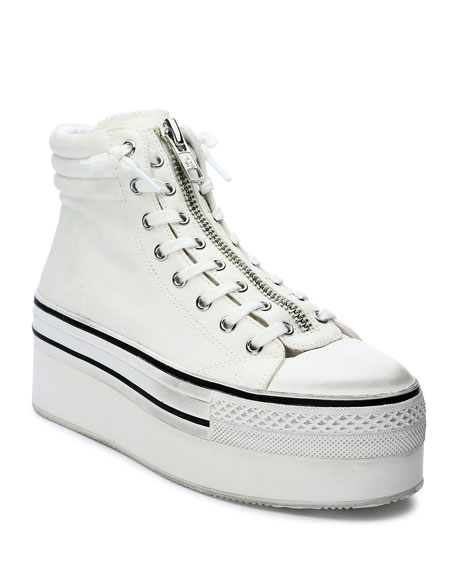 Image 1 of 4: Ash Jagger Canvas Platform Zip Sneakers