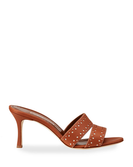 Image 2 of 4: Manolo Blahnik Jacobro Cutout Leather Mid-Heel Sandals