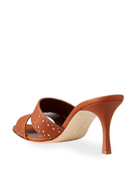Image 4 of 4: Manolo Blahnik Jacobro Cutout Leather Mid-Heel Sandals