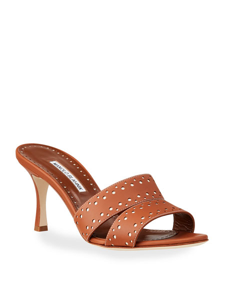 Image 1 of 4: Manolo Blahnik Jacobro Cutout Leather Mid-Heel Sandals