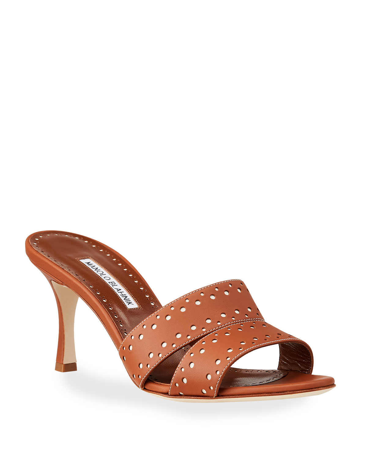 Manolo Blahnik Jacobro Cutout Leather Mid-Heel Sandals