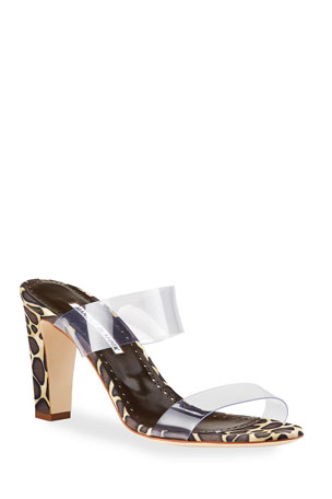 Manolo Blahnik Scolto Leopard-Print and PVC Slide Sandals