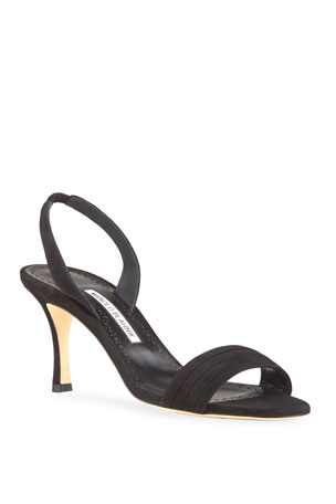 Manolo Blahnik Vergasli Pleated Suede Slingback Sandals