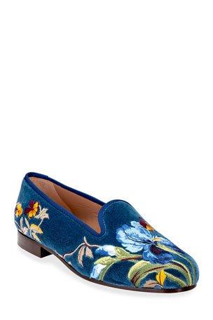 Stubbs and Wootton Iris Embroidered Velvet Smoking Slippers
