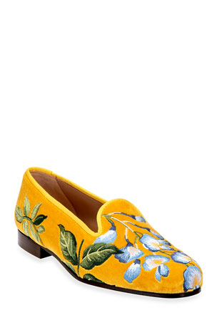 Stubbs and Wootton Wisteria Embroidered Velvet Smoking Slippers