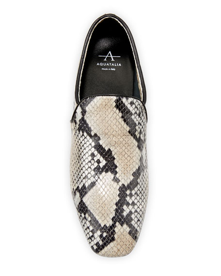 Image 3 of 3: Aquatalia Revy Flat Snake-Print Loafers