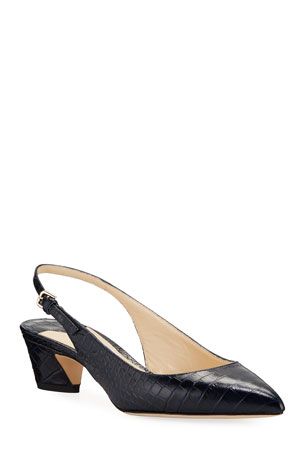 Jimmy Choo Gemma Mock-Croc Leather Slingback Pumps