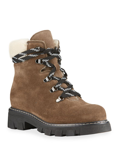 La Canadienne Adam Suede Shearling Waterproof Hiker Boots