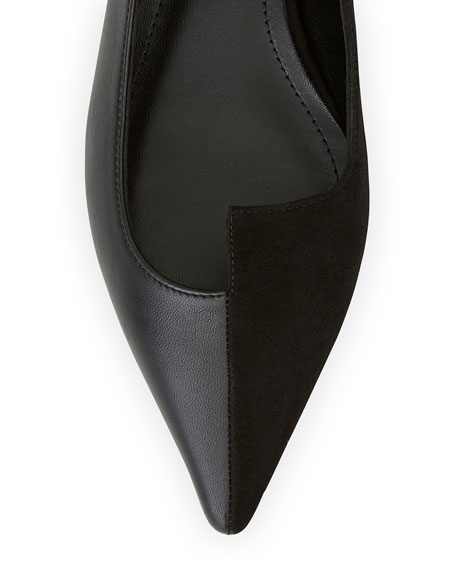 Image 4 of 4: Lafayette 148 New York Mica Mix-Leather Asymmetric Pointed Flats