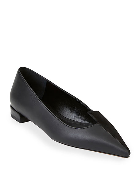 Image 1 of 4: Lafayette 148 New York Mica Mix-Leather Asymmetric Pointed Flats
