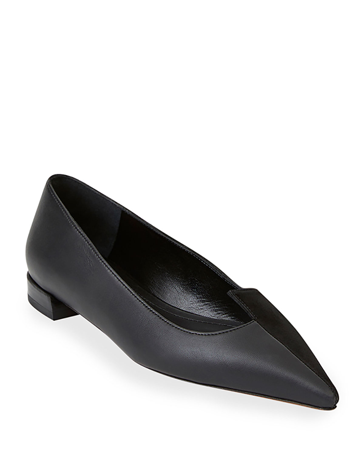 Lafayette 148 New York Mica Mix-Leather Asymmetric Pointed Flats