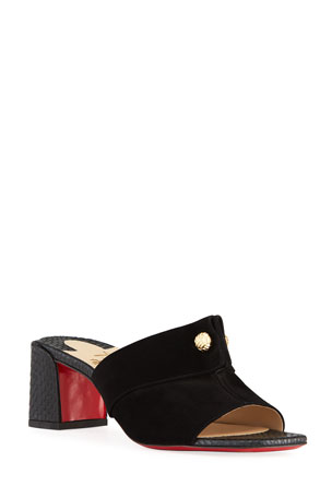 Christian Louboutin Mixed Leather Red Sole Mule Sandals