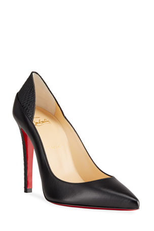 Christian Louboutin Masstricht Snake-Trim Leather Red Sole Pumps