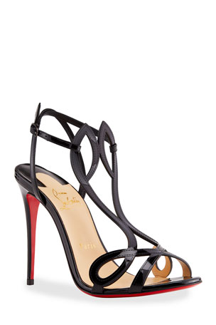 Christian Louboutin Double L Patent Red Sole Sandals
