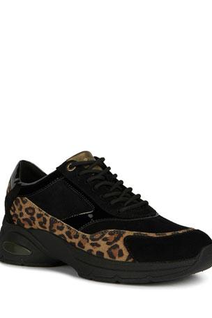 Geox Alhour 8 Mixed Media Animal-Print Fashion Sneakers