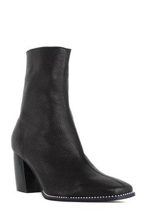 CAVERLEY Jamie Pebbled Leather Zip Ankle Boots