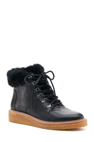 Botkier Winter Demi-Wedge Hiking Booties w/ Faux-Fur Trim
