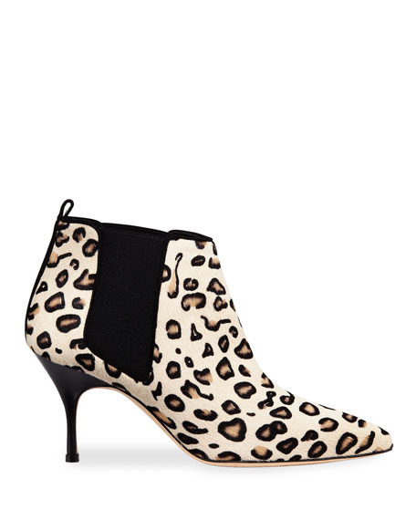 Image 2 of 4: Manolo Blahnik Dildi 70mm Leopard-Print Fur Booties