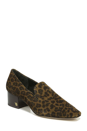 Veronica Beard Baylie Leopard-Print Suede Loafers