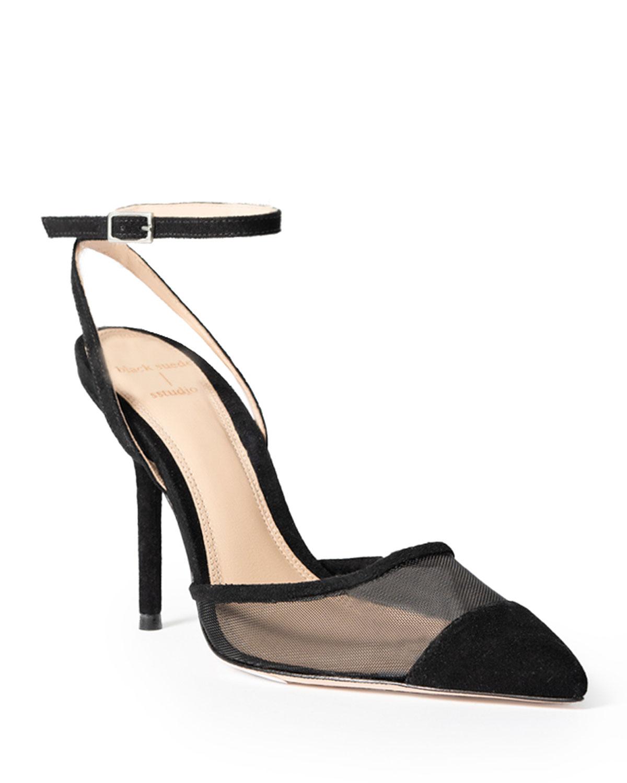 Black Suede Studio Adriana Mesh Ankle-Strap Pumps