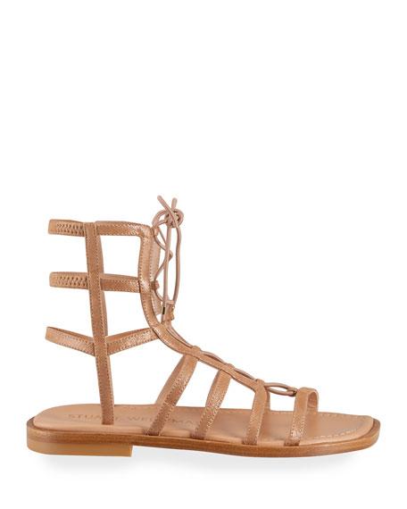 Stuart Weitzman Kora Leather Lace-Up Gladiator Sandals